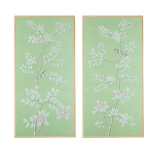 """Ambleside"" Chinoiserie Hand-Painted Silk Diptych by Simon Paul Scott for Jardins en Fleur - a Pair For Sale"