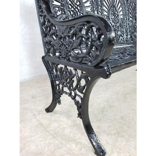 Metal Antique American Cast Iron Park Bench For Sale - Image 7 of 13