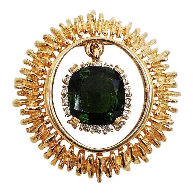 Panetta Faux-Emerald Drop Brooch For Sale