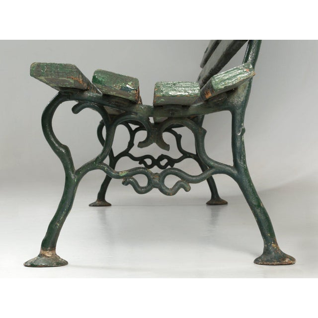 French Antique French Cast Iron & Wood Garden Bench For Sale - Image 3 of 13