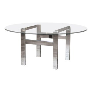 Chrome and Glass Flat Bar Coffee Table For Sale
