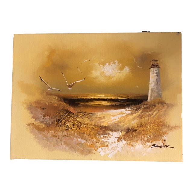 Original Vintage 1960's Seascape Painting With Lighthouse & Seagulls Signed For Sale