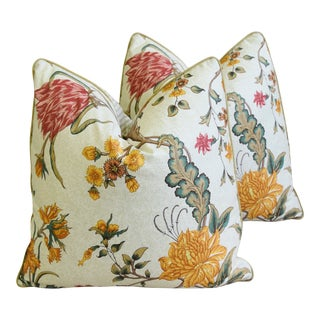 "Schumacher Arbre Fleuri Floral & Ticking Feather/Down Pillows 20"" Square - Pair For Sale"