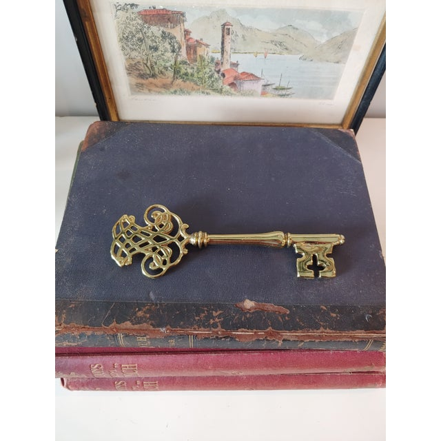 Art Nouveau Vintage Brass Key Paperweight For Sale - Image 3 of 5