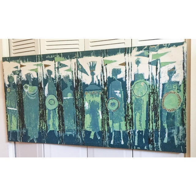Mid-Century Modern The Age of Kings in Blue Textile Art by Tibor Reich For Sale - Image 3 of 11
