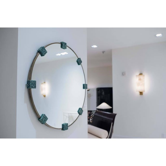 Contemporary Mirror of Smoked Brass and Crushed Green Avertine From Brazil, by Samuel Amoia For Sale - Image 3 of 4