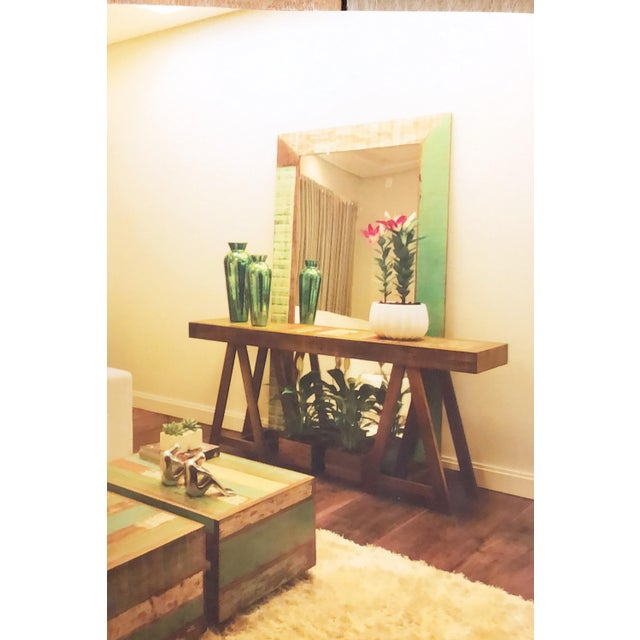 Boho Chic Reclaimed Peroba Wood Handmade Eco-Friendly Console Table For Sale - Image 3 of 4
