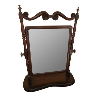 French 19th C. Shaving Mirror FlipsOver & Beveled Walnut Mirror For Sale