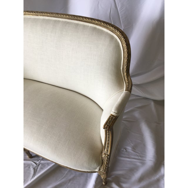 Vintage Gilt French Settee For Sale - Image 4 of 11
