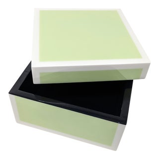 Mint Green and White Edged Lacquered Square Box For Sale