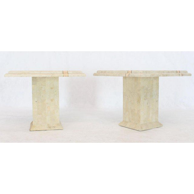 1970s Pair of Tessellated Stone Tile Square Pedestal Shape End Side Tables Stands - a Pair For Sale - Image 5 of 11