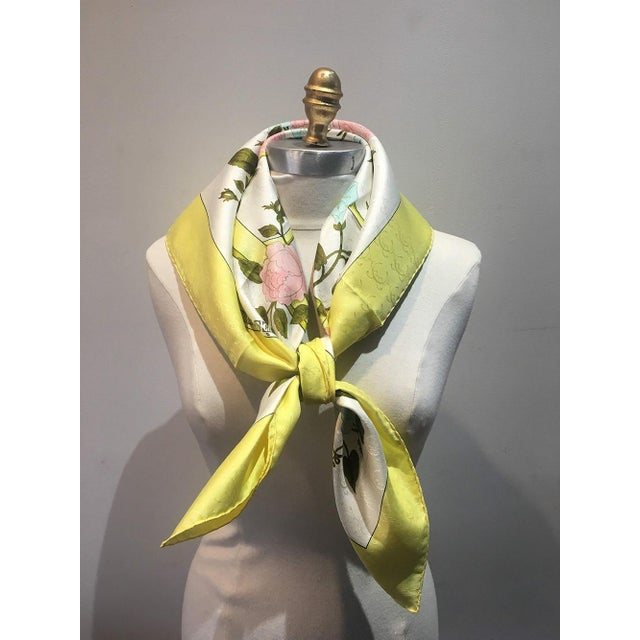 1970s Hermes Vintage Romantique Silk Scarf in Yellow C1970s For Sale - Image 5 of 7
