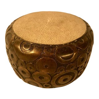 Vintage R and Y Augousti Signed Bronze and Chagrin Lidded Round Box For Sale