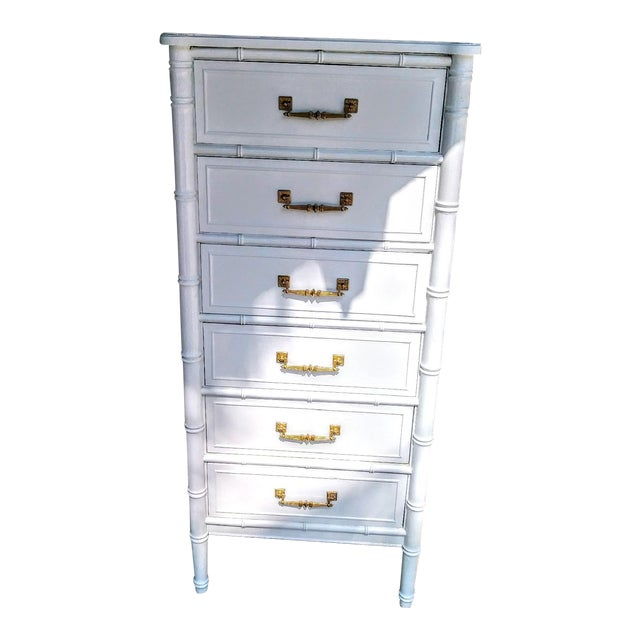 Vintage Henry Link Bali Hai Palm Beach Regency White High Gloss Tall Lingere Dresser Chest For Sale