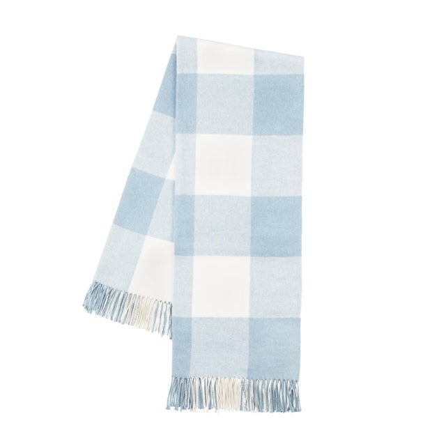 Transitional Baby Blue Buffalo Check Throw For Sale - Image 3 of 3
