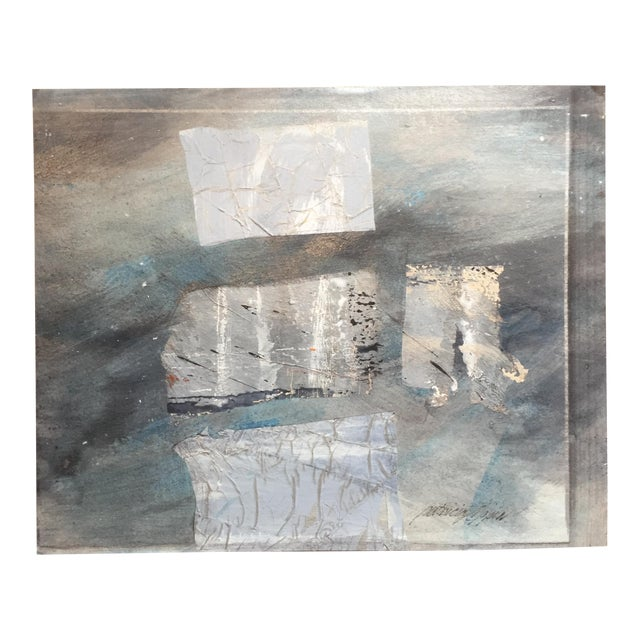 Silver Paradigm 1980s Mixed Media Abstract For Sale