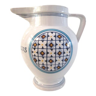 Italian Ceramic in Aqua Salus Pitcher For Sale