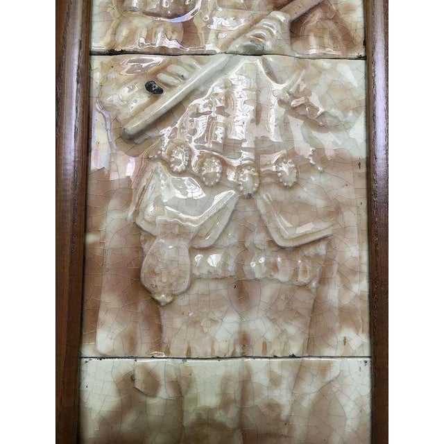 Early 20th Century Majolica Figural Musician Beige & White Tile For Sale - Image 5 of 11