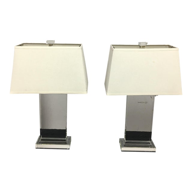 Restoration Hardware Crystal Pier Table Lamps - A Pair For Sale