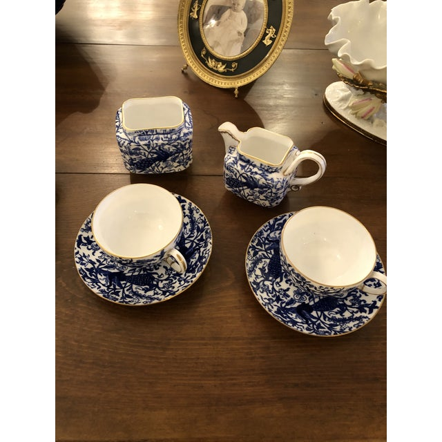 Blue Staffordshire Peacock Pattern English Tea Set For Sale - Image 8 of 13
