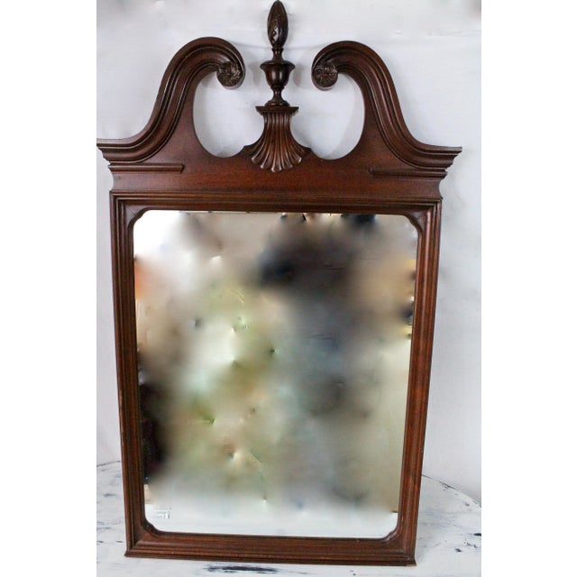 1920's Antique Scroll Top Shell & Acorn Finial Mirror For Sale - Image 10 of 10