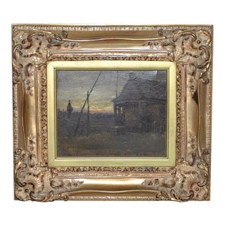 "19th Century Landscape Oil Painting ""View From Cabin"" by George Glenn Newell For Sale"