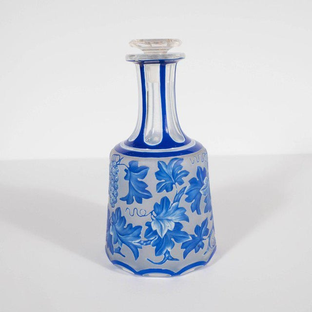 French Art Deco Decanter in Ancient Blue with Grape Vine and Leaf Motif For Sale - Image 4 of 10