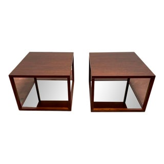 Bolier for Decca Home Contemporary Walnut Veneer Square Side Tables - a Pair For Sale