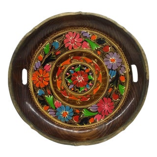 Vintage Hand Painted Wooden Platter For Sale