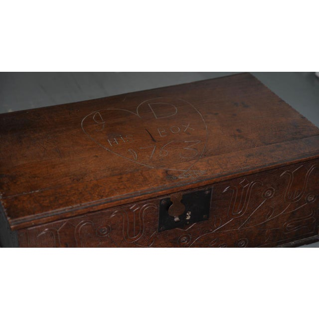 18th Century Carved Walnut Bible Box C.1763 For Sale - Image 4 of 11
