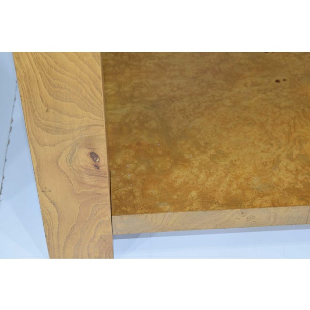 Milo Baughman for Thayer Coggin Pair of Milo Baughman Burl Wood End Tables or Nightstands For Sale - Image 4 of 10