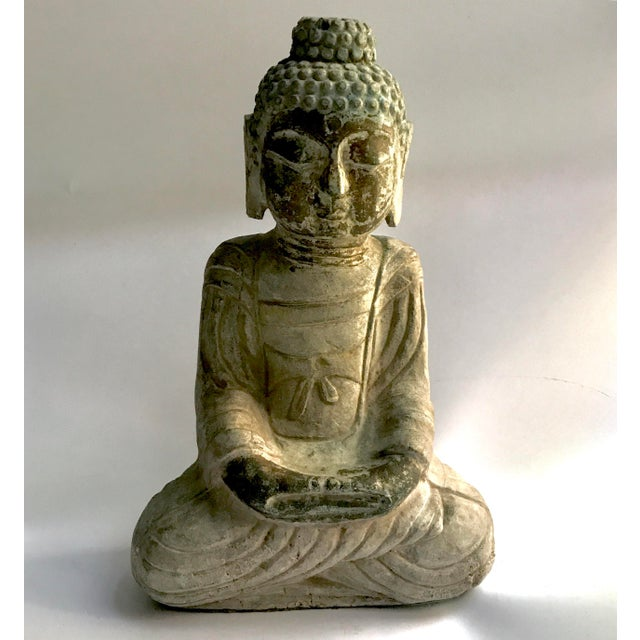 Antique Tibetan Carved Stone Temple Buddha For Sale - Image 13 of 13