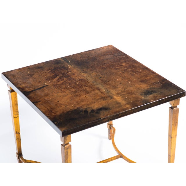 Aldo Tura Goat Skin Side Table on Gold Finish Metal Base For Sale In New York - Image 6 of 8