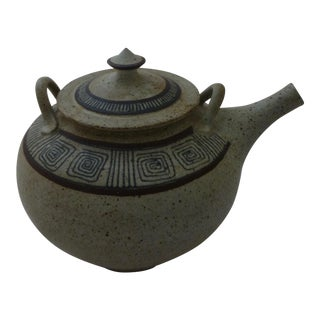 Mid-Century Modern Studio Art Pottery Teapot For Sale