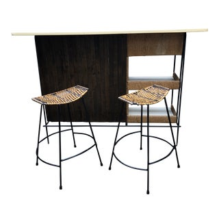 Arthur Umanoff Dry Bar and 2 Coordinating Barstools For Sale