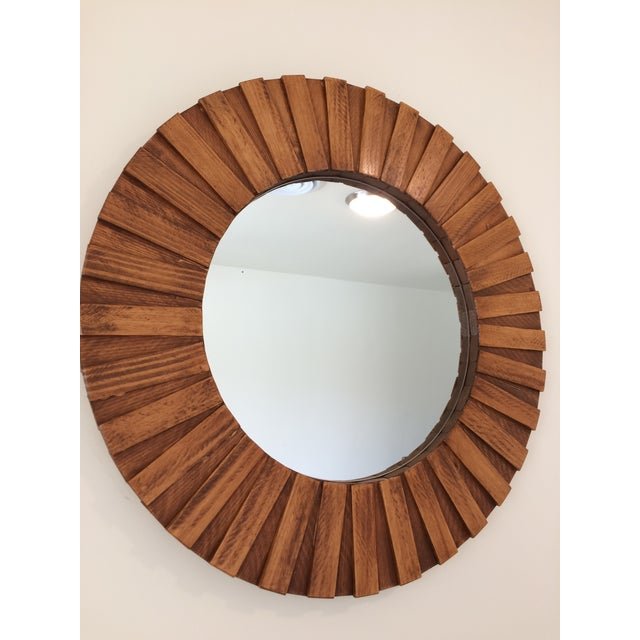 """26"""" in diameter 16"""" mirror Teak color stain Made of pine wood Handmade Ready and easy to hang Easy to clean Hardware included"""