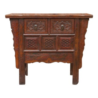 Antique Ming Style Carved Open Lotus Dresser For Sale