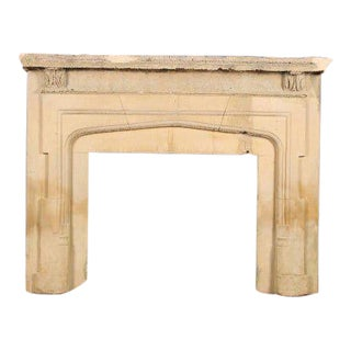 Gothic Cast Stone Fireplace Surround 64 Wide, 52 High, 13 Deep For Sale