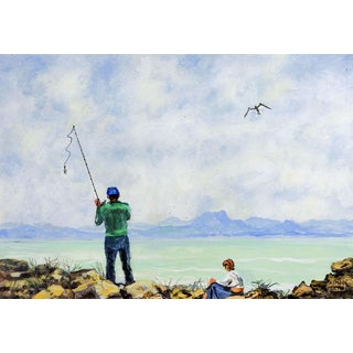 Fisherman Painting by Simon Michael For Sale