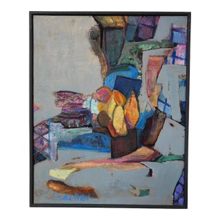 Colorful Vintage Expressionist Abstract Painting on Stretched Canvas by Eric Marconi For Sale