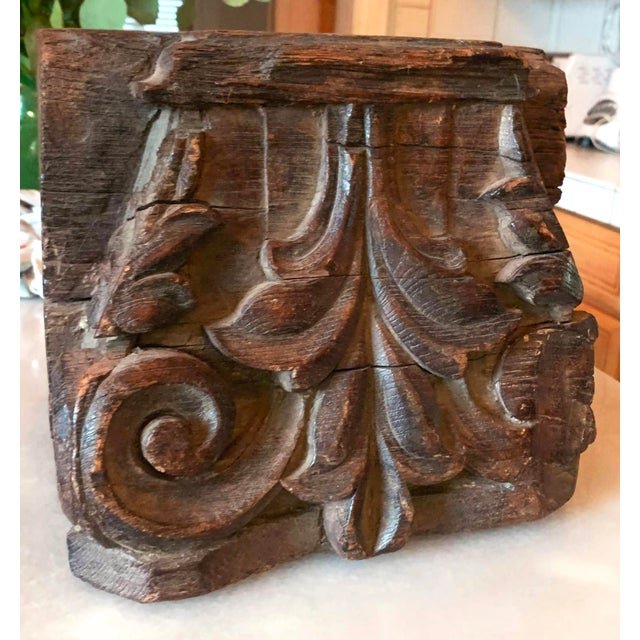 English Colonial Indian Carved Teak Column Base Architectural Element C 1890 For Sale - Image 13 of 13