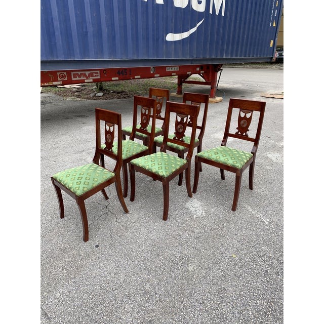 1910s French Empire Solid Mahogany Dining Chairs - Set of 6 For Sale - Image 4 of 13