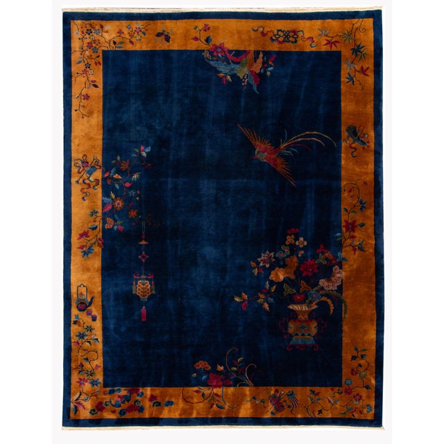 Early 20th Century Antique Art Deco Chinese Wool Rug For Sale - Image 13 of 13