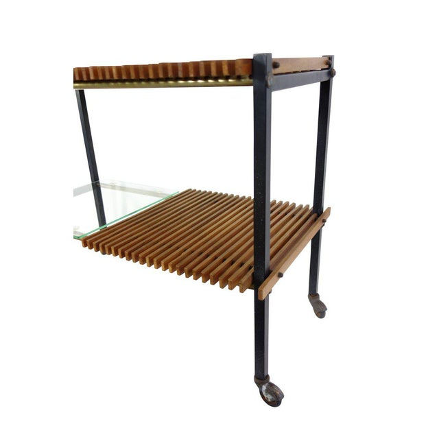 Mid Century Italian Wood Slat and Glass Console - Image 4 of 7