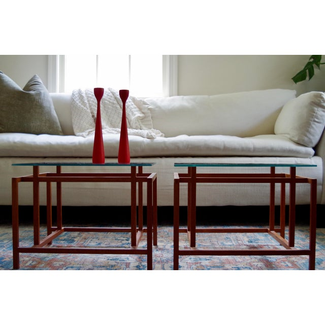 Mid-Century Modern Danish Henning Nørgaard for Komfort Teak and Glass Side Tables - a Pair For Sale - Image 3 of 7