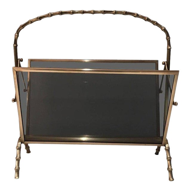 Faux Bamboo Bronze Magazine Rack by Maison Baguès, Circa 1940 - Image 1 of 11