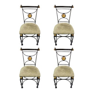Neoclassical Maitland Smith Iron, Marble and Cocoanut Shell Chairs - Set of 4