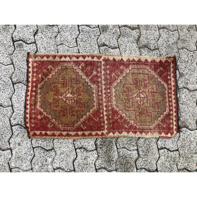 Vintage Red Turkish Handmade Door Mat Rug - 1′6″ × 2′8″ For Sale In San Diego - Image 6 of 6