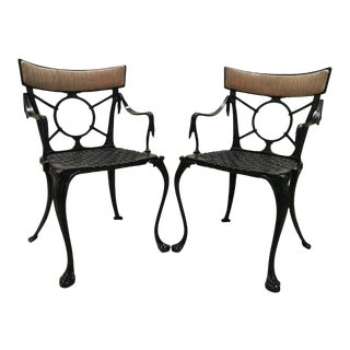 19th Century Pair of Antique French Cast Iron Garden Chairs in Black For Sale