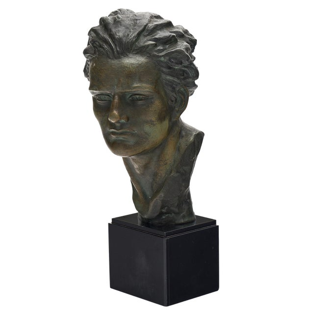 Art Deco Spelter Bust of Jean-Mermoz Sculpture For Sale
